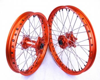 Crosswielen SMPro platinum oranje velgen voor KTM
