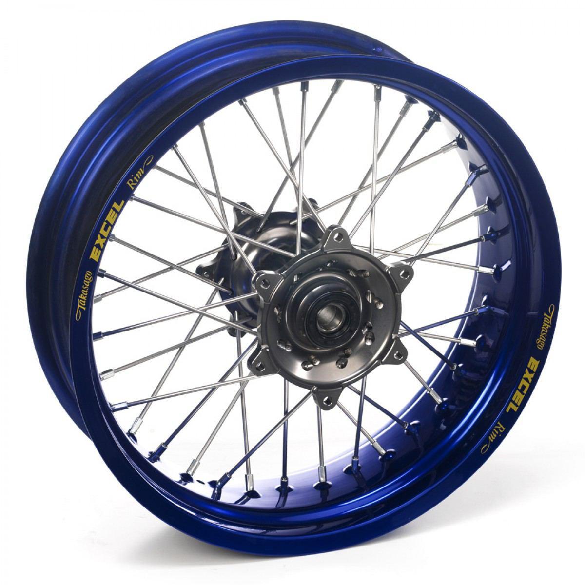 Haan Wheels Supermoto Set Blauwe Velgen Met Grijze Naaf